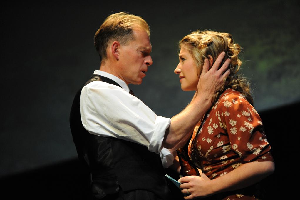 Karl Haynes (Harold Larwood) & Sarah Churm (Lois Larwood) embracing_please credit Robert Day