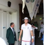 """Local Lad"" Stuart Broad comes out of the pavilion with the rest of the England Team"