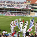 The crowd are on their feet as England run onto the Trent Bridge pitch....